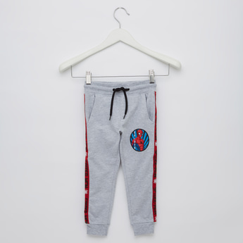 Spider Man Applique Full-Length Jog Pants with Elasticated Waist