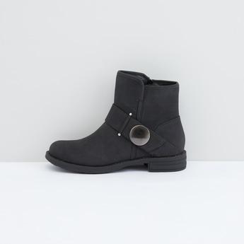 Metallic Detail Boots with Zip Closure