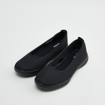 Textured Almond Toe Shoes with Slip-On Closure