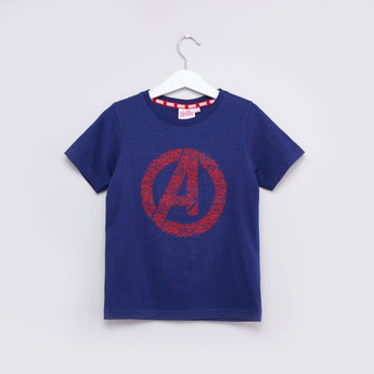 Avengers Logo Printed Round Neck T-shirt with Short Sleeves