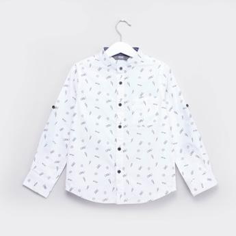 Printed Shirt with Mandarin Collar and Roll-up Sleeves