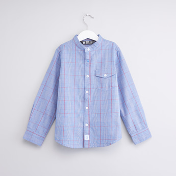 Chequered Shirt with Long Sleeves and Mandarin Collar