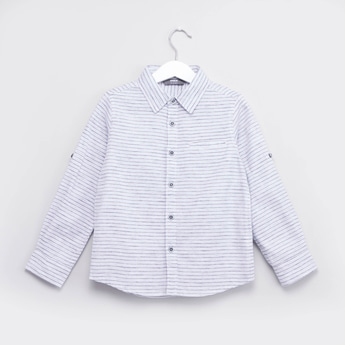 Striped Shirt with Spread Collar and Roll-up Sleeves