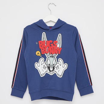 Looney Tunes Print Sweatshirt with Hooded Neck and Long Sleeves