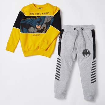 Batman Print Round Neck Sweatshirt and Joggers Set