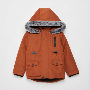 Zipper Front Parka Jacket with Hooded Neck and Long Sleeves