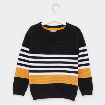 Textured Striped Sweater with Long Sleeves