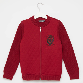 Quilted Bomber Sweater with Front Zip Closure and Long Sleeves