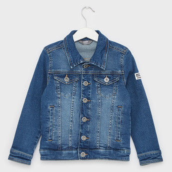 Solid Trucker Jacket with Long Sleeves and Flap Pockets