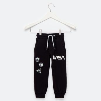 NASA Graphic Print Jog Pants with Pockets and Drawstring Closure