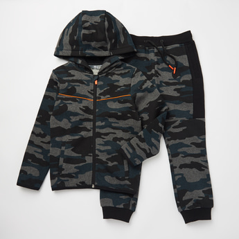 Camouflage Print Long Sleeves Hoodie and Jog Pants Set