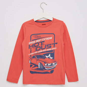 Racer Car Print Round Neck T-shirt with Long Sleeves