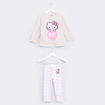 Hello Kitty Embroidered Sweater and Pyjama Set