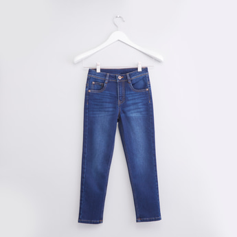 Full Length Plain Jeans with Pocket Detail and Belt Loops