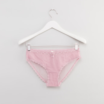 Textured Bikini Briefs with Lace Detail