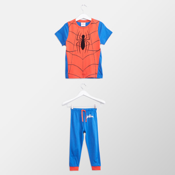 Spiderman Printed Round Neck T-shirt with Full Length Jog Pants