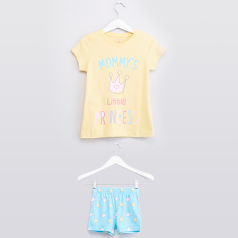 Printed T-shirt and Shorts with Elasticated Waistband