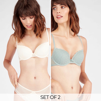 Set of 2 - Wired Padded Demi Bra with Lace Detail
