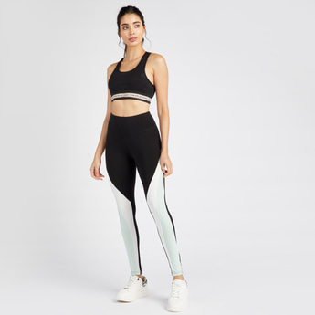 Slim Fit Full Length Colourblock Leggings with Elasticated Waistband