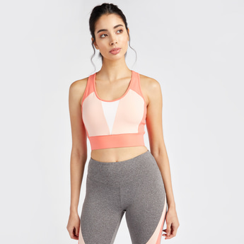 Solid Colour Block Medium Support Sports Bra with Round Neck