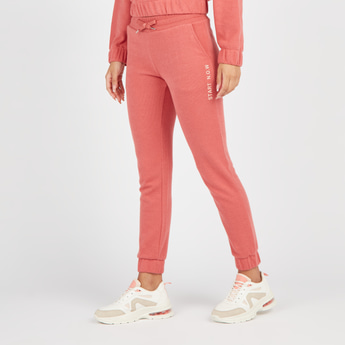 Text Print Jog Pants with Pockets and Drawstring