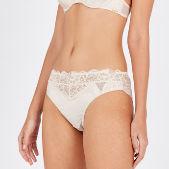High Leg Brazilian Briefs with Textured Lace Panels