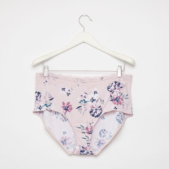 Floral Print Full Briefs with Lace Detail