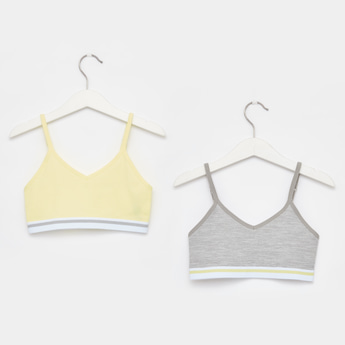 Set of 2 - Textured V-Neck Bra with Adjustable Spaghetti Straps