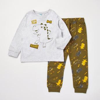 Printed Cuffed Long Sleeves T-shirt with Full Length Pyjama Set