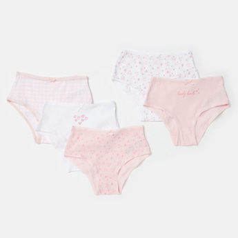 Set of 5 - Printed Cotton Briefs with Bow Detail