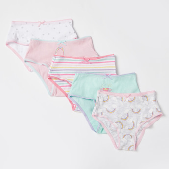 Set of 5 - Assorted Briefs with Bow Applique Detail