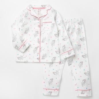 Printed Collared Shirt and Full Length Pyjama Set