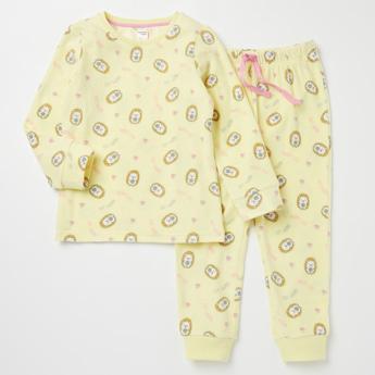 Printed Long Sleeves Top and Full Length Pyjama Set