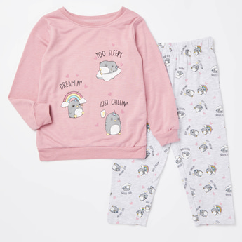 Cozy Collection Printed Sweatshirt and Full Length Pyjama Set