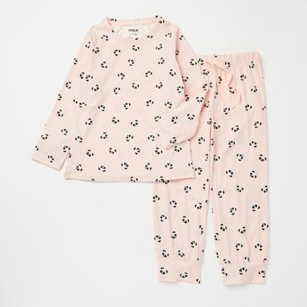 All-Over Panda Print Long Sleeves T-shirt with Full Length Pyjama Set