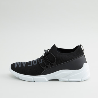Printed Sports Shoes with Drawstring Closure