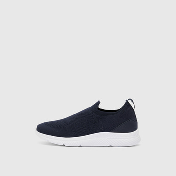 Textured Slip On Walking Shoes with Pull Tab