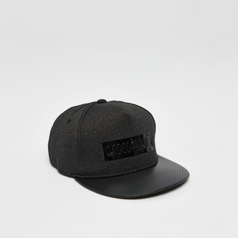 Text Embossed Print Cap with Hook and Loop Closure