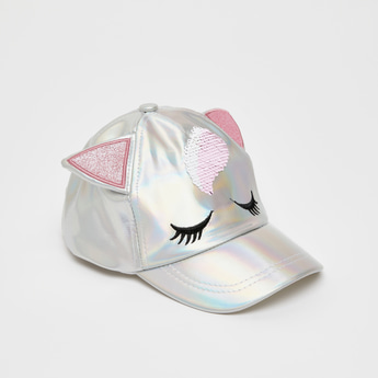 Embellished Glossy Embroidered Cap with Applique Detail