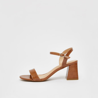 Textured Sandals with Block Heels and Buckle Closure
