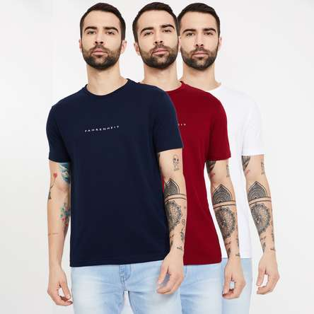 FAHRENHEIT Solid Slim Fit Crew Neck T-shirt- Pack of 3