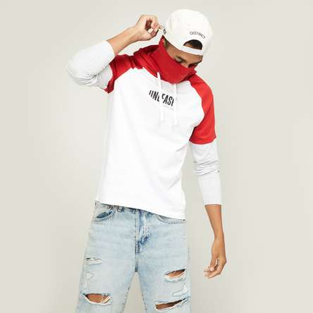 BOSSINI Men Typographic Print Hooded T-shirt with Mask