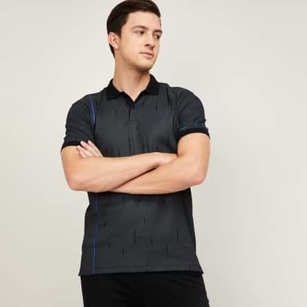 ALLEN SOLLY Men Striped Regular Fit Polo T-shirt