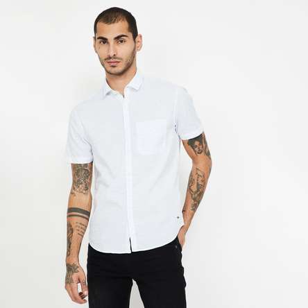 CODE Striped Short Sleeves Slim Fit Shirt