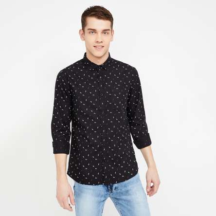FAME FOREVER Printed Full Sleeves Slim Fit Casual Shirt