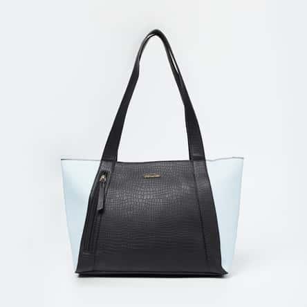 DAVID JONES Colourblocked Zip-Closure Tote Bag