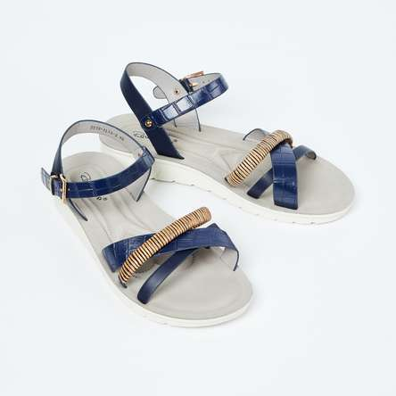 RAW HIDE Textured Ankle-Strap Flats