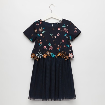 Embroidered Dress with Short Sleeves and Mesh Detail
