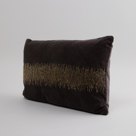 Bead Detail Filled Cushion with Zip Closure - 50x30 cms