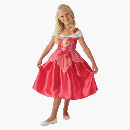 Sleeping Beauty Costume Dress with Bow Applique and Glitter Peplum